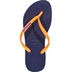 havaianas Slim Logo Sandaler Damer, navy blue